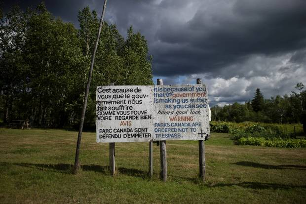 A sign erected by Jackie Vautour near his shack in Kouchibouguac National Park.