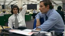 """Reporters Bob Woodward, right, and Carl Bernstein, whose reporting of the Watergate case won a Pulitzer Prize, sit in the newsroom of the Washington Post, May 7, 1973. W. Mark Felt, a former FBI official claims he was """"Deep Throat,"""" the long-anonymous source who leaked secrets about President Nixon's Watergate coverup to The Washington Post, Vanity Fair reported Tuesday May 31, 2005. (AP)"""