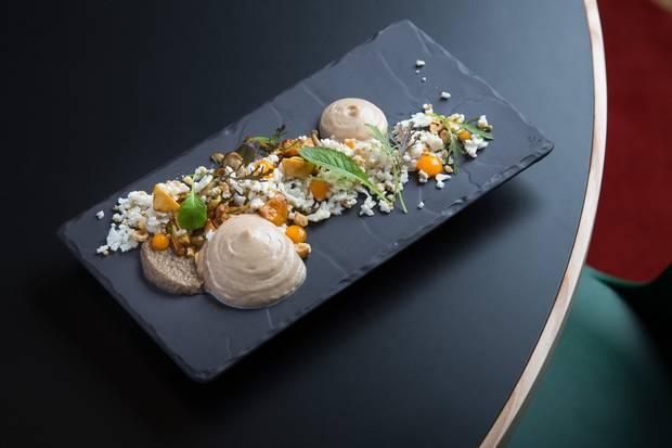 O Watt restaurant's mushrooms, cauliflower foam, hazelnuts and truffle gem.
