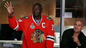 Former basketball player Michael Jordan attends Game Five of the 2010 NHL Stanley Cup Final between the Philadelphia Flyers and the Chicago Blackhawks at the United Center on June 6, 2010 in Chicago, Illinois. (Photo by Jim McIsaac/Getty Images)