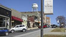 "The main street used in the filming of the TV show 'The Walking Dead' in Senoia, Georgia: Senoia, pronounced ""Seh-noy"" by its 3,300 residents, had seen its fortunes fade after the local cotton and agricultural industries died off. But the town now boasts a retail district that grew from six to 49 businesses in half a dozen years. (Colleen Jenkins/Reuters)"