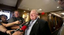 Toronto's Mayor, Rob Ford, talks to the media at Cambridge Club at the Sheraton Hotel in Toronto. August 28, 2013. (Gloria Nieto/The Globe and Mail)