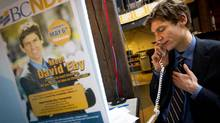 David Eby, then a candidate in the Vancouver-Point Grey provincial by-election, works the phones at his campaign office in Vancouver on election day, May 11, 2011. (John Lehmann/The Globe and Mail)