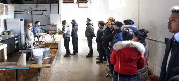 Part of the barbecue culture is long lineups for limited quantities of meat.