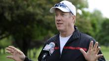 FILE - In this June 3, 2013 file photo, Buffalo Bills Hall of Fame quarterback Jim Kelly talks with the media before a press conference in Batavia, N.Y. (Gary Wiepert/AP)