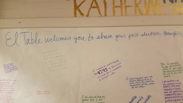 A message board at El Table, a student-run café at Wellesley College, invited patrons to write about their feelings on the American election.