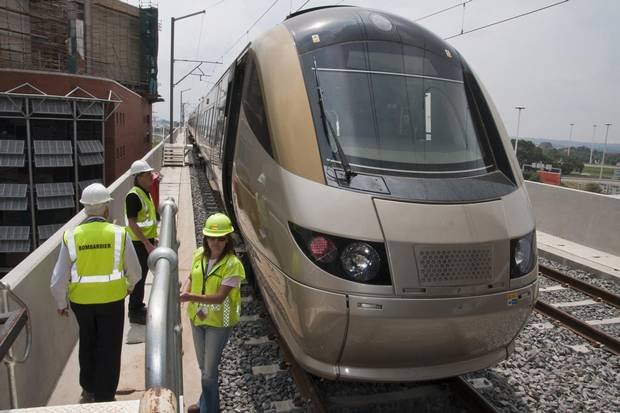 Bombardier Transportation executives visit the rail link from Johannesburg airport to the city in 2010.