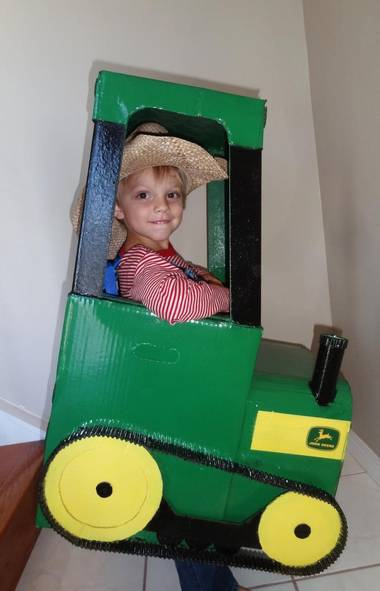 Hayden Potapinski, 4, as a tractor: Hayden is a city kid with a farmer's heart. When asked what he wanted to be for Halloween, there was really only one option: a John Deere tractor. We searched for some ideas online and Hayden's Grandpa Miazga designed and created the entire thing (which took about 30 hours and cost $30). There was no swaying Hayden on his costume choice, so even though it was a daunting task, Grandpa was up to the challenge. His little sister donated diaper boxes for the main frame. Hayden is thrilled to pieces with his tractor costume. He was there every step of the way as a consultant on the project. – Amanda Potapinski, Calgary