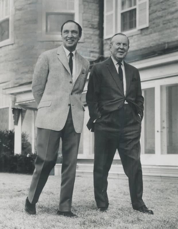 Pierre Trudeau with the man he succeeded as prime minister in 1968, Lester Pearson.