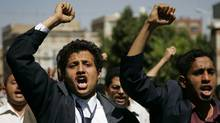 Demonstrators shout slogans during an anti-government protest in Sanaa January 29, 2011. Yemen's ruling party has called for dialogue with the opposition, the country's state news agency said late on Friday, in a bid to end anti-government protests fuelled by popular unrest across the Arab World. (Khaled Abdullah/Khaled Abdullah/Reuters)