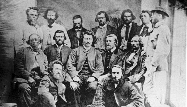 Louis Riel and his councillors pose for a photograph in 1869.