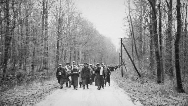 The Great March from Stalag Luft III, in late January, 1945. In the war's final months, the Germans forced their prisoners to march west, away from the advancing Soviet army, through the frozen countryside on foot. Jack Mason, a prisoner at Stalag Luft III, took part in the march.