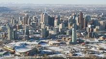 Wednesday, December 02, 2009 - Calgary, Alberta - An aerial view of the downtown of Calgary, AB. (Chris Bolin/The Globe and Mail/Chris Bolin/The Globe and Mail)