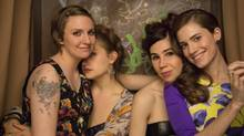 Lena Dunham, left, with costars Jemima Kirke, Zosia Mamet and Allison Williams. (Jessica Miglio)