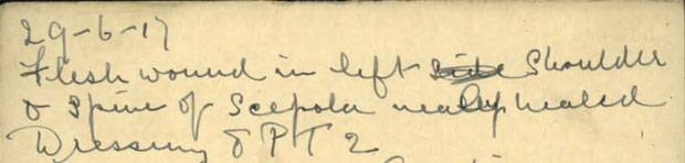 "A note in Milton Carr's war record mentions a ""flesh wound in left shoulder."""