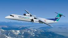 A Bombardier Q400 NextGen aircraft in WestJet livery is shown in this illustration released by Bombardier on Tuesday May 1, 2012. (Bombardier)