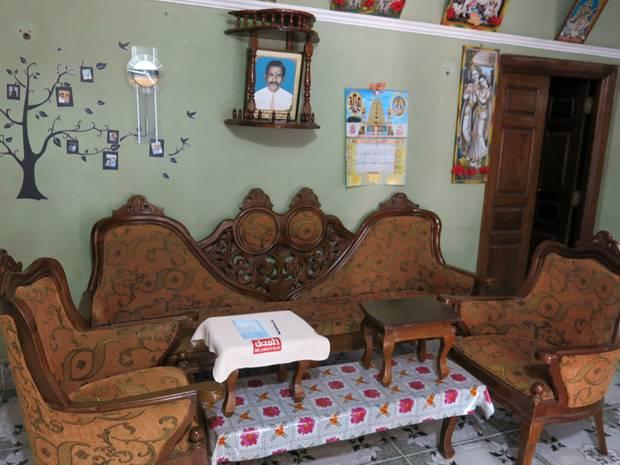 Inside the house.