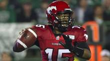 Calgary Stampeders quarterback Kevin Glenn looks to make a pass in the third quarter of CFL pre-season football action against the Saskatchewan Roughriders in Regina, Sask., Thursday, June 20, 2013. (The Canadian Press)