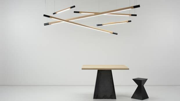 Bennington Pendants, Squaretown and Brackton Table by Mischa Couvrette.