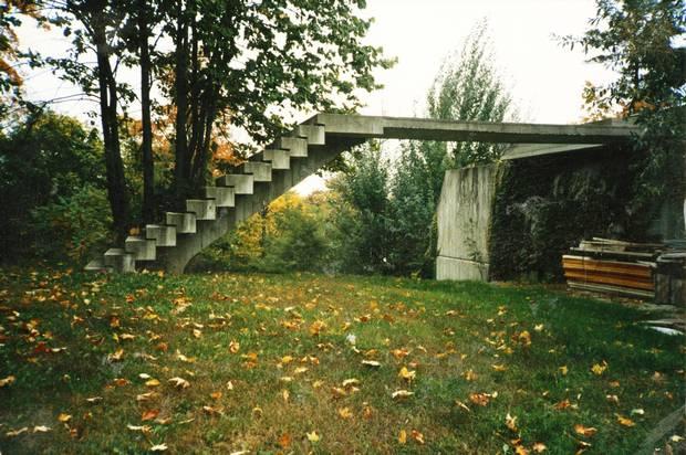A stone bridge outside the home