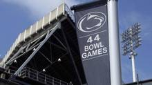 A banner celebrating the 44 bowl games that the Penn State football team has played (Gene J. Puskar/The Associated Press)