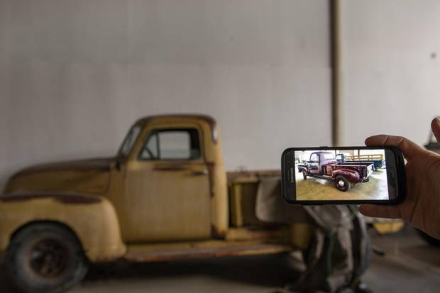 One piece of trickery making things easier for picture car co-ordinator Jovan Vujatovic to match a car to a scene or character on The Man In the High Castle is a specially formulated paint that can be sprayed on and peeled off – such as this pickup truck, which appears patinated with rust but is in fact a perfect restoration underneath.