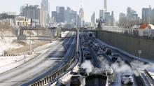 Heavy traffic can be seen on the Gardiner Expressway after a multi-car collision in Toronto January 03 2014. (Fernando Morales/The Globe and Mail)