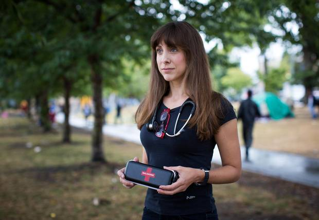 Dr. Alana Hirsh is pictured in the Downtown Eastside of Vancouver, British Columbia on August 31, 2016.