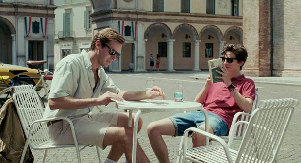 Luca Guadagnino's Call Me By Your Name stars, from left, Armie Hammer as Oliver and Timothée Chalamet as Elio.