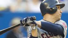 Cleveland Indians' Grady Sizemore hits a RBI double during second inning MLB baseball action against the Toronto Blue Jays in Toronto Tuesday, May 31, 2011. THE CANADIAN PRESS/Darren Calabrese (Darren Calabrese/CP)