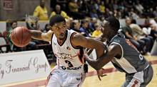 Summerside Storm's Avery Smith charges the net during game action against the Moncton Miracles, Friday, Oct. 26, 2012. (Nathan Rochford/The Globe and Mail)