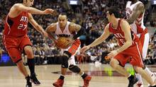 Toronto Raptors guard Jerryd Bayless drives to the basket. (Mike Cassese/Reuters/Mike Cassese/Reuters)