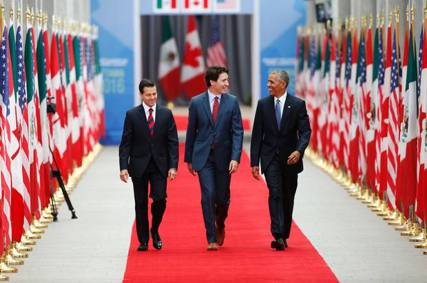 Mexican President Enrique Pena Nieto, Prime Minister Justin Trudeau and US President Barack Obama arrive for the North American Leaders Summit and Leaders Summit at the National Gallery of Canada in Ottawa.