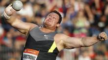 Canada's Dylan Armstrong makes an attempt in the Men's Shot Put at the Golden Spike Athletic meeting in Ostrava, Czech Republic, Friday, May 25, 2012. (Petr David Josek/AP/Petr David Josek/AP)