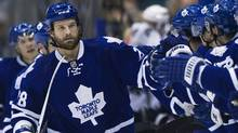 Toronto Maple Leafs forward colton Orr celebrates