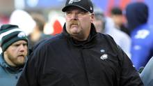 Philadelphia Eagles head coach Andy Reid walks on the field before an NFL game against the New York Giants, Sunday, Dec. 30, 2012, in East Rutherford, N.J. (Bill Kostroun/AP)