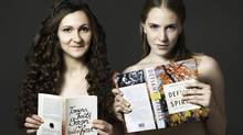 Authors Amanda Leduc and Allegra Young pose for the Bare It For Books fundraising calendar. (Shelagh Howard/The Canadian Press)