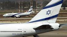 El Al airplanes are seen on the runway at Ben Gurion International airport near Tel Aviv, in this file picture taken August 22, 2011. Israeli media reported on Monday that pro-Palestinian hackers had threatened on January 15, 2012, to bring down the websites of the Tel Aviv bourse and El Al. The site of the Tel Aviv Stock Exchange (TASE) was disrupted on January 16, 2012, and the El Al Israel Airlines website also crashed but officials at Israel's flag carrier would not confirm or deny the incident was the work of hackers. (RONEN ZVULUN/Ronen Zvulun/Reuters)