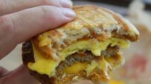 The McGriddle: bacon, egg and cheese sandwiched between two pancakes injected with maple flavouring.