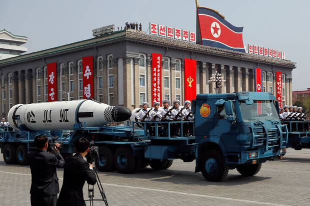 A North Korean navy truck carries the submarine-launched ballistic missile during a military parade marking the 105th birth anniversary of the country's founding father, Kim Il-sung, in Pyongyang on April 15, 2017.