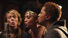 Jo Lawry, Judith Hill, and Lisa Fischer at the mic for a rendition of Lean on Me in the film 20 Feet From Stardom.