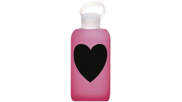 LIQUID LOVE When you buy a silicone-encased glass bkr water bottle for that athletic special someone, the company channels a portion of the proceeds into global water projects; this limited-edition model in Candy bears a festive heart. $33.50 through www.eluxe.ca.