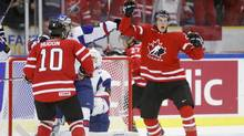 Canada's Anthony Mantha celebrates after scoring on Slovakia during the second period period (ALEXANDER DEMIANCHUK/REUTERS)