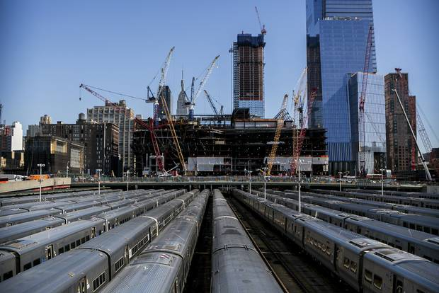 Construction of 30 Hudson Yards, seen in March of 2016.