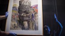 A water colour by Emily Carr is hung in the Nisga'a Museum in Laxgalts'ap in the Nisga'a Nation May 8, 2014. Emily Carr visited the Nass and Skeena Valley twice â in 1912 and 1928. A new exhibition at the Nisgaâa Museum in the Nass Valley reunites her early work with mature canvasses in the region where they were originally conceived, in the Nisgaâa nation. (John Lehmann/The Globe and Mail)