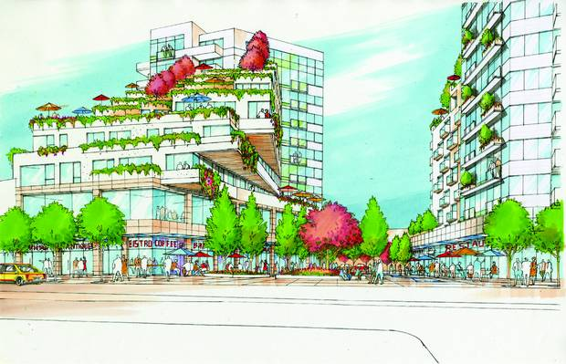 Every residential building in Northeast False Creek in Vancouver will have retail spaces at the ground level, filled with small non-chain shops – the kinds of places that can usually survive only in run-down, low-rent strips far from downtown.
