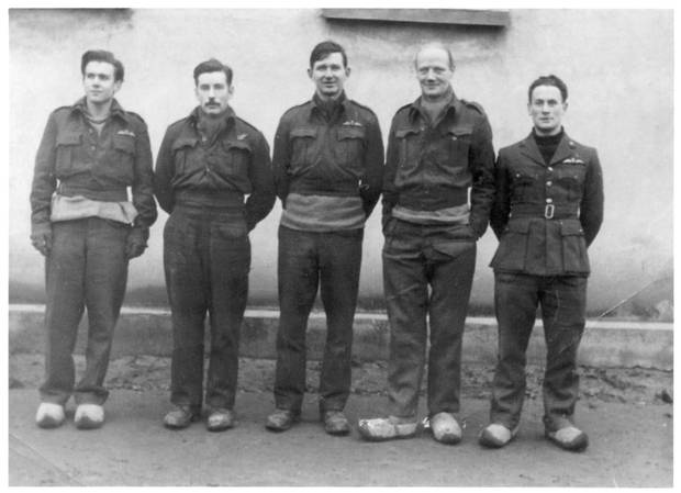 Oflag XXI B Szubin: Peter Stevens (far right) with other captured allied aviators at Oflag XXI-B prisoner-of-war camp, in Szubin, occupied Poland. Stevens was held there from September 1942 to April 1943.
