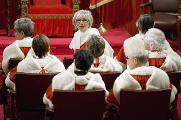 Nov. 19, 2008: Chief justice McLachlin and the other justices wait for the reading of the Throne Speech in Parliament Hill's Senate chamber.