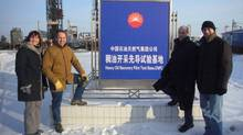 Penn West executives on their 2010 visit to China: From left, Hilary Foulkes, Bob Shepherd, Keith Luft and Gregg Gegunde. (Great Wall Drilling Co.)