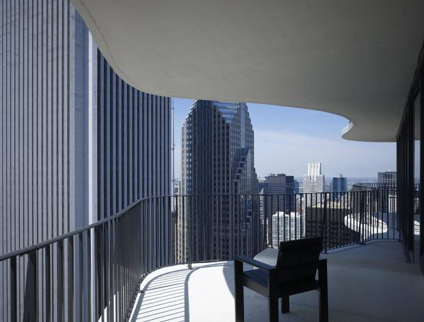 A balcony of Aqua Tower in Chicago.